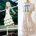 Retail Anime Anohana Cosplay Women Menma Honma Meiko Costume for Halloween Party Female  Role Play White Dress Wholesale 89
