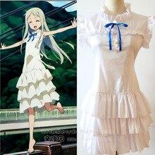 Retail anime anohana honma meiko menma cosplay mujeres disfraz de halloween party dress juegos de rol blanco femenina al por mayor 89