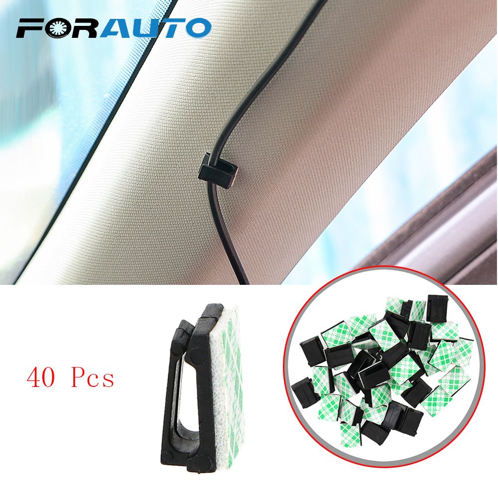 FORAUTO 40Pcs Car Vehicle Data Cord Cable Tie Mount Wires Fixing Clips Clamp Auto Fasteners Stowing Tidying Interior Accessories
