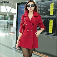 New 2018 Women Winter Wool Coat S Double Breasted Coats Ladies Long Blue Red Camel Woollen Jacket Female Plaid Overcoats