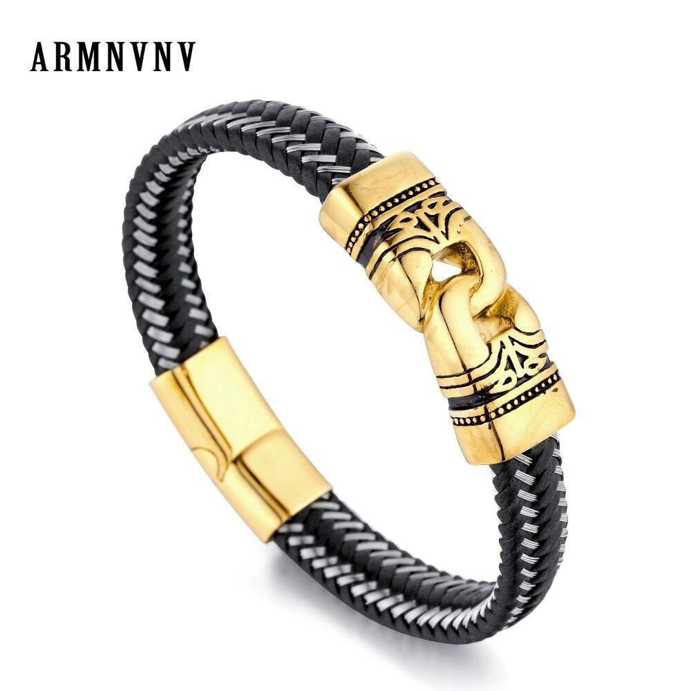 Armnvnv Mode Geflochtene Leder Armbänder Gold Schädel Punk Wrap Armband Edelstahl Magnetische Schnalle Bequemes GefüHl