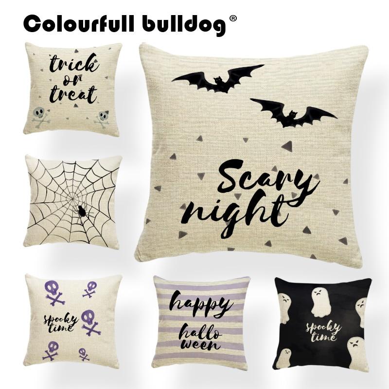 Simple Halloween Cushion Pillowcases Trick Or Treat Cute Ghost Throw Pillow Bat Spider Cobweb Magic Hat Party Decorate Almofadas