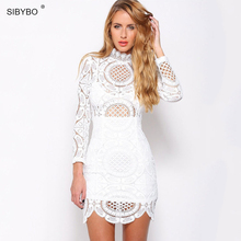 Sibybo Sexy Club Dress 2018 White Black Embroidery Floral Celebrity Bodycon Bandage Dress Long Sleeve Slim