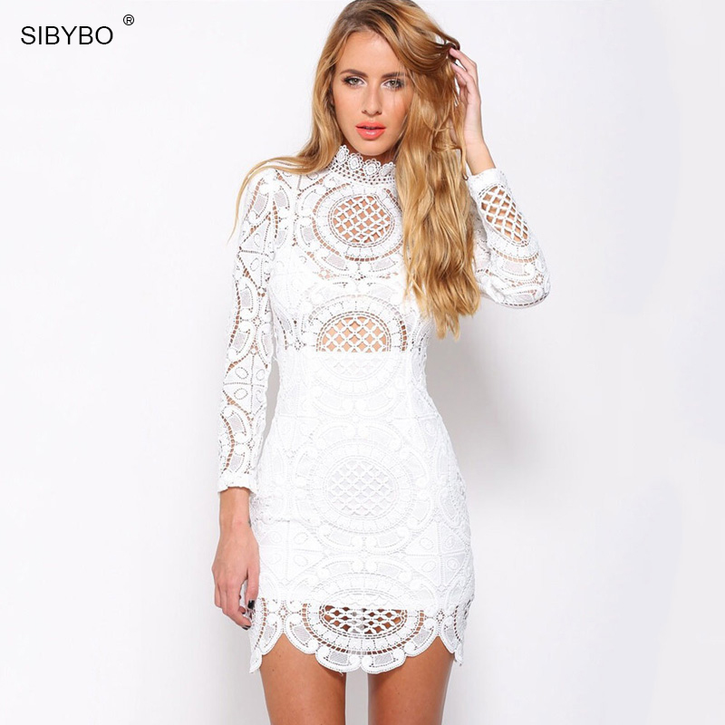 Sibybo Sexy Club Dress 2018 White / Black Embroidery Floral Celebrity Bodycon Bandage Dress Long Sleeve Slim Hollow Lace Dress