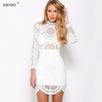 Sexy Club Dress 2015 White Black Embroidery Floral Celebrity Bodycon Party Dresses Long Sleeve Slim Hollow
