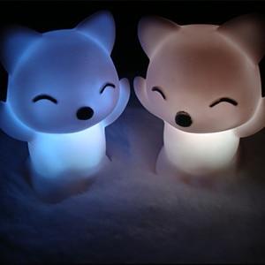 Breathing 7 Changing Colors Lovely Fox Shape LED USB Children Animal Night Light Silicone Soft Cartoon Baby Nursery Lamp