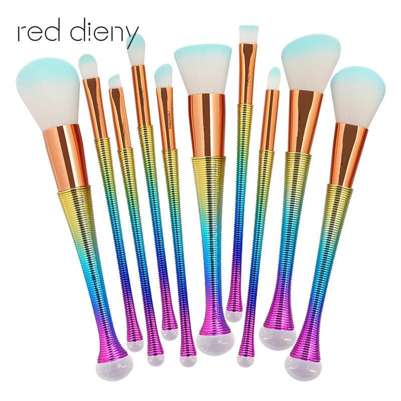 10Pcs Professional Makeup Brushes Set Power Foundation Blush Eye Shadow Contour Blending Mermaid Brush Beauty Cosmetic Tool Kits кисть tony moly professional blending shadow brush 1 шт