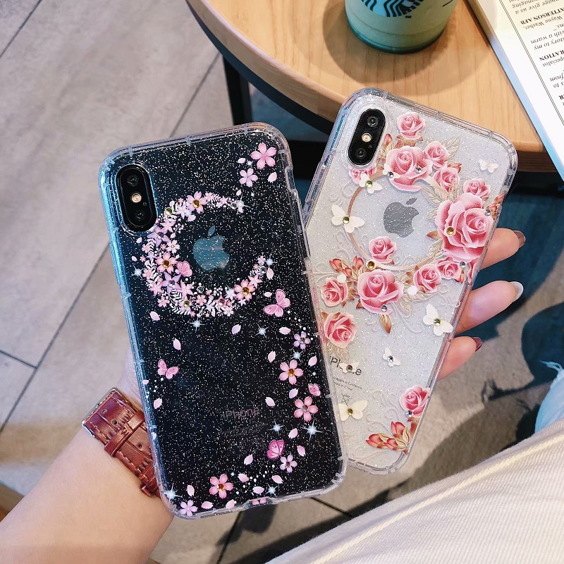 Bling Glitter Diamond Iphone 6 6S 7 8 Plus Cute Cartoon Soft TPU Silicone Airbag Cover For Iphone X 8 7 6 Case