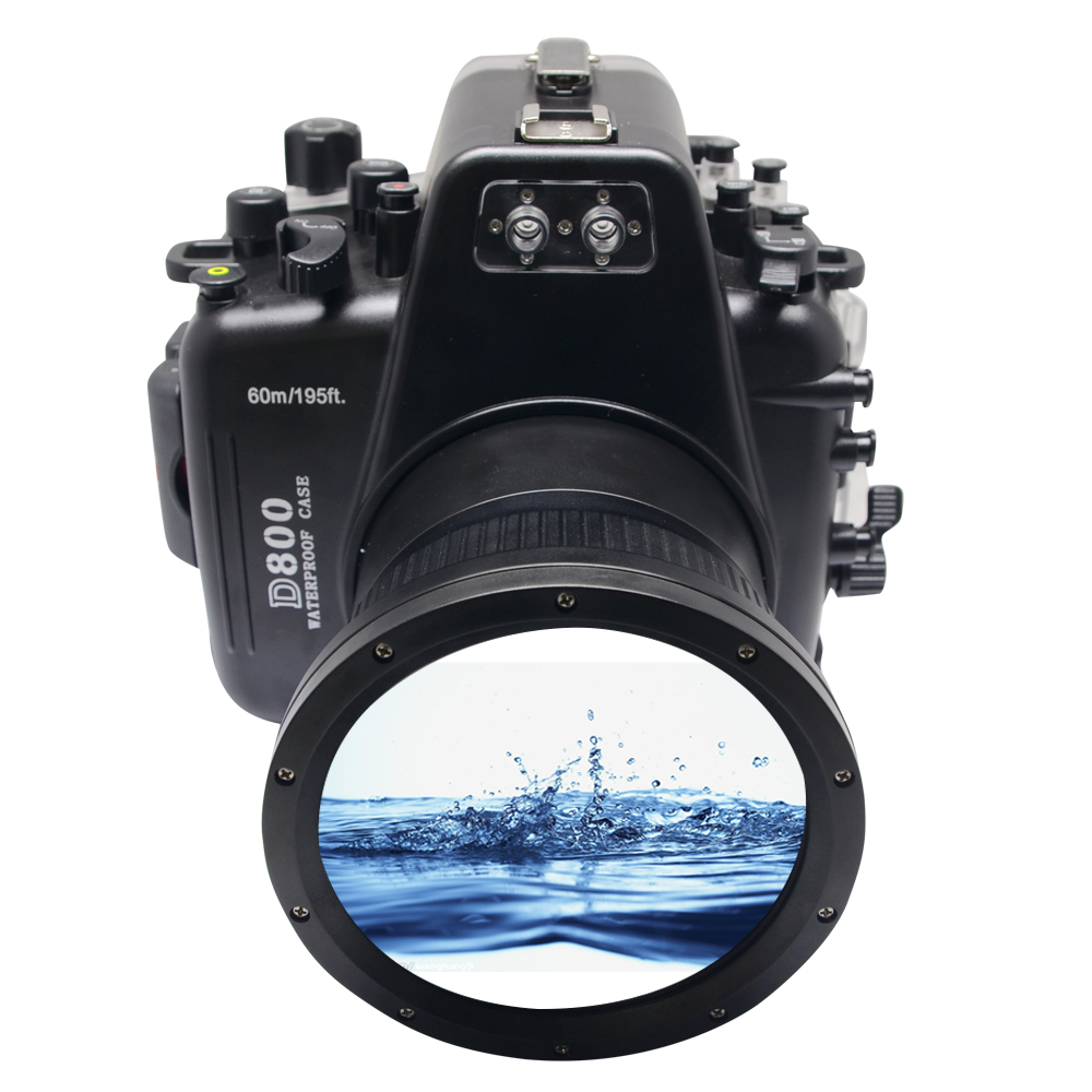 Meikon 60M/195ft Camera Underwater Housing Waterproof Case For Nikon D800 with Inbuilt Leak Detection Alarm Buzzer Sensor meikon 40m waterproof underwater camera housing case bag for canon 600d t3i