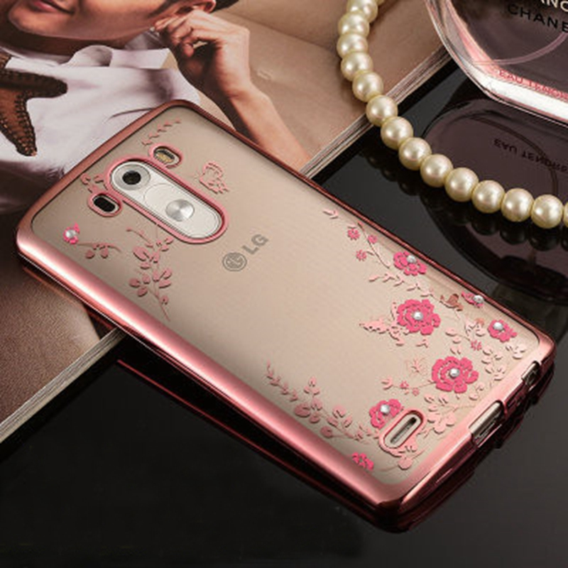 Shenzhen Inpet Technology Co., LTD Luxury Flowers TPU plating Rhinestone Soft TPU Case For LG G3 Back Cover for LG LG3/D855/D850/D851/D852 Diamond Silicone Cases