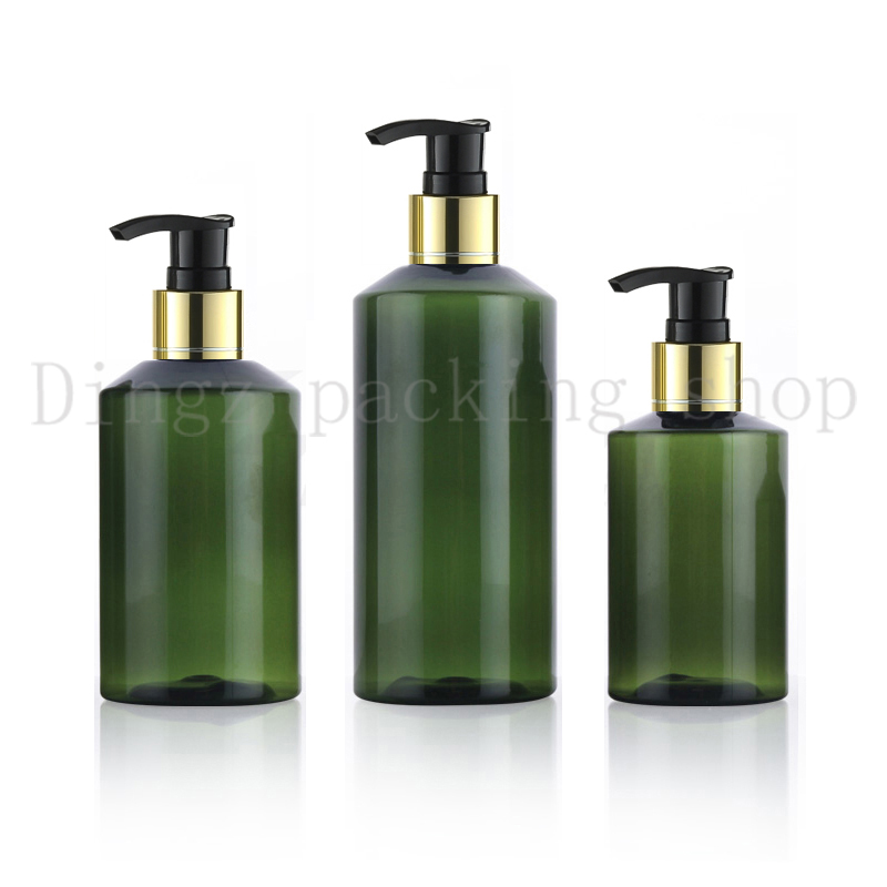100 150 200ml Cosmetic Bottles Heathy PET Sample gold collar Pump Dispenser Cream Shampoo Detergent green