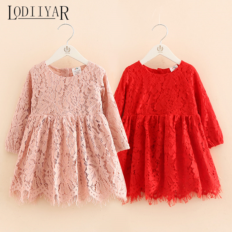 Подробнее о Girls Lace Dress Princess Lace Flower Girl Dresses For Party And Wedding European Style Red White Pink Kids Clothes Floral Prom teenage girls dresses summer england style lace flower princess dress for girl wedding party prom costume kids clothes floral