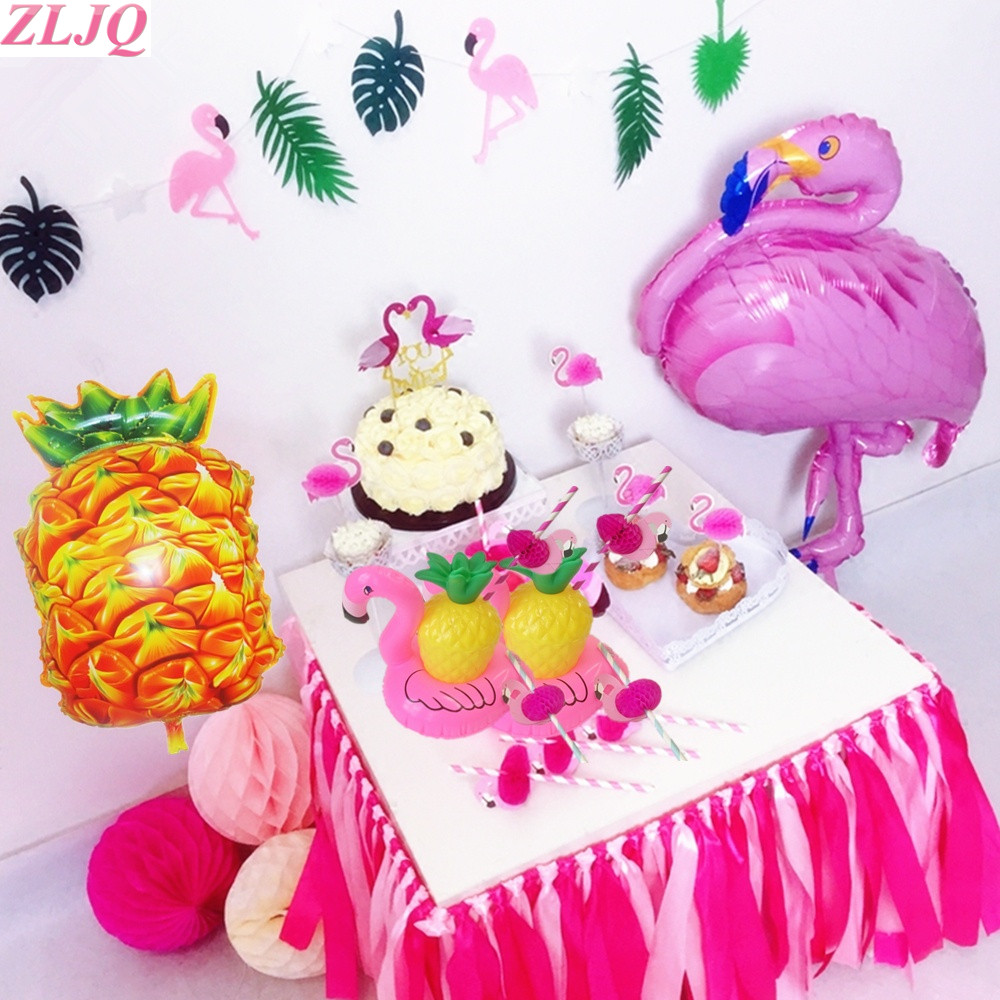 ZLJQ Pineapple Cup Flamingo Balloon Cake Topper Photo Booth Props ...