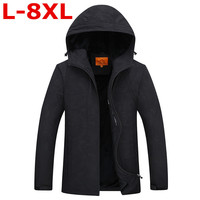 plus size 8XL 7XL Autumn Winter Male Thickening Jacket Velvet Hoodie Casual Men Jacket Coat Warm Soft Male Hooded With velvet