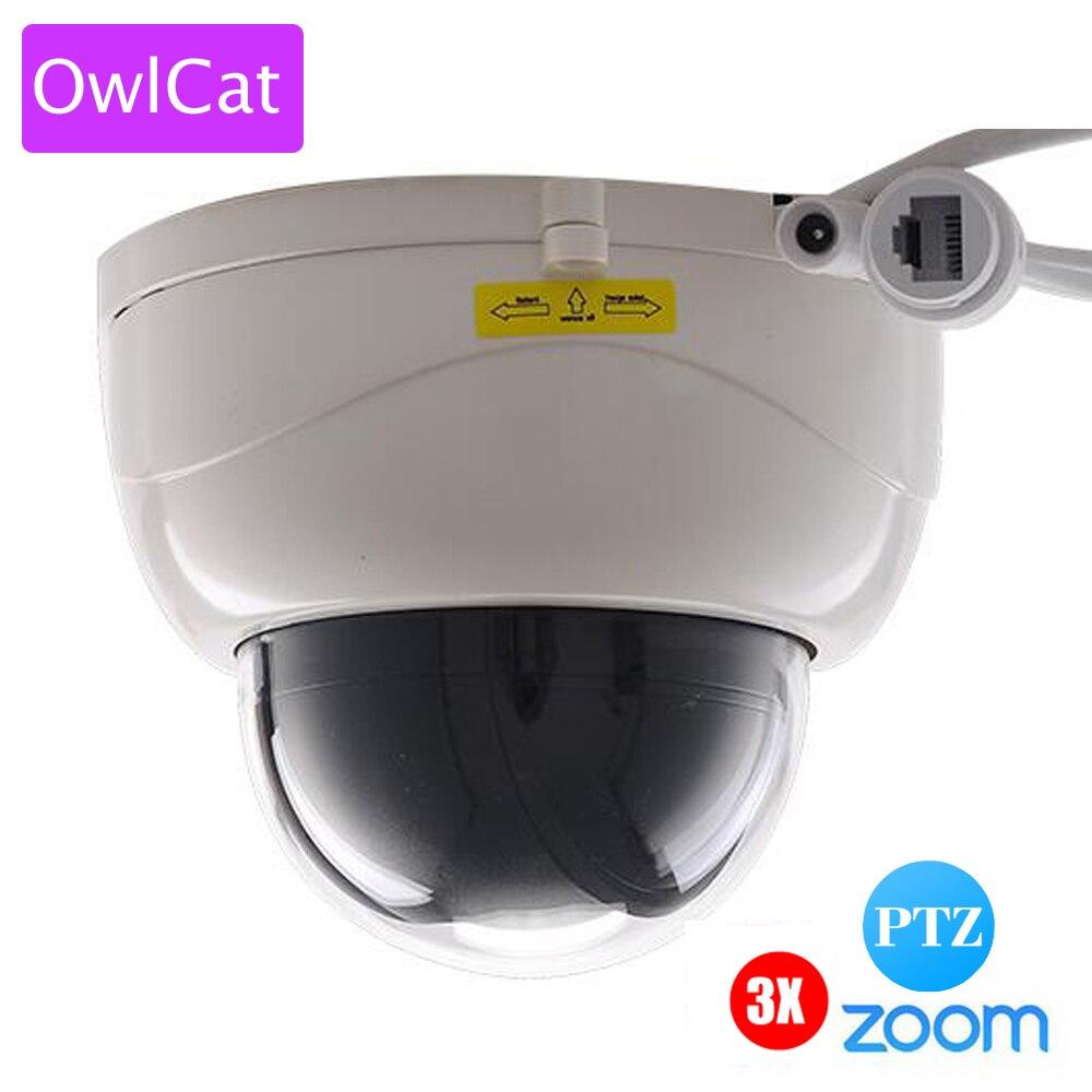 Owlcat sony322 1080 P 2mp Full HD Крытый ИК купольная ip-камера Камера PTZ 3X зум Автофокус с переменным фокусным расстоянием Ночное видение сети p2P Cam ONVIF