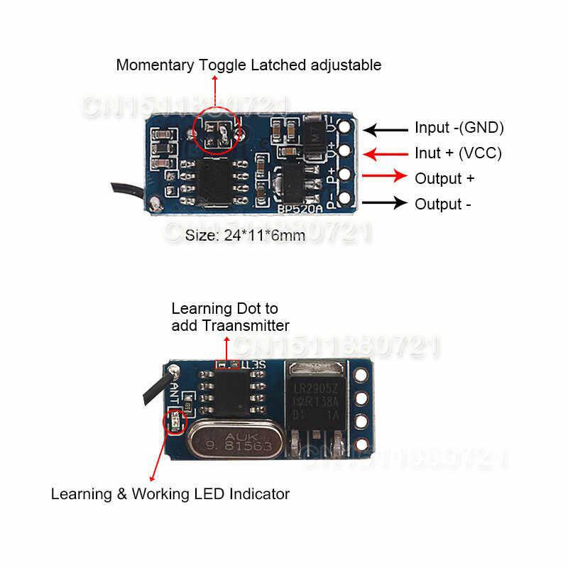 Micro Mini commutateur de télécommande DC 3 V 3.7 V 4.5 V 5 V 6 V 7.4 V 12 V batterie au Lithium sans fil interrupteur récepteur de lumière PCB