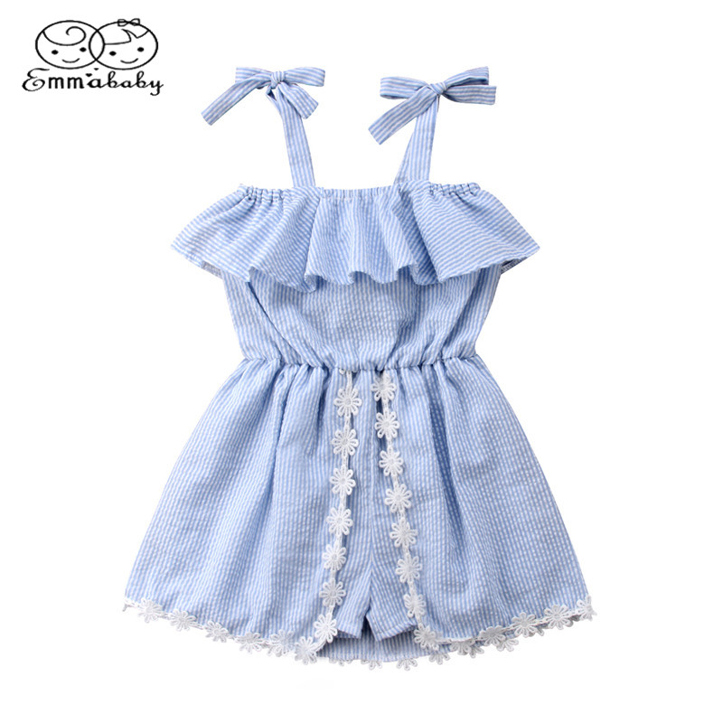 Emmababy Baby Kids Clothes Girls Lace Flower Striped   Romper   Dress Strap Ruffles Blue Summer   Rompers   Jumpsuit Sundress Outfits