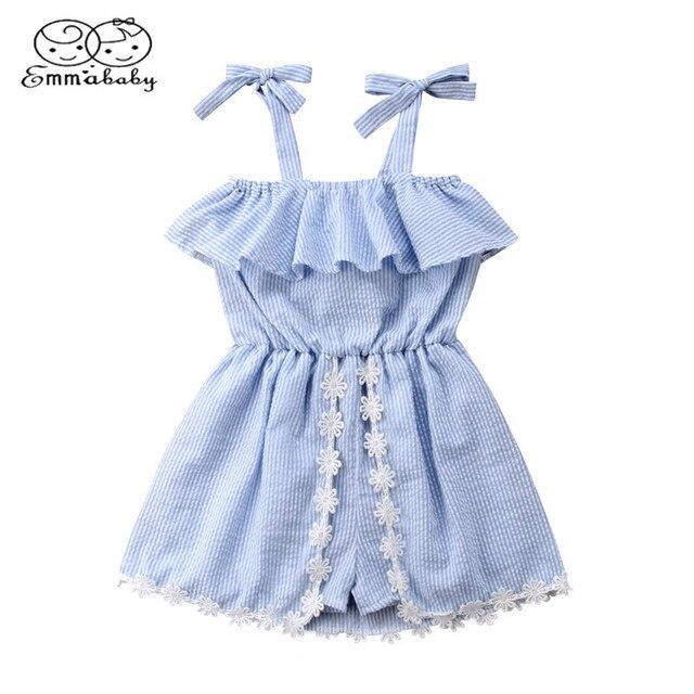 Emmababy Bebek Çocuk Giysileri Kız Dantel Çiçek Çizgili Romper Elbise Askısı Ruffles Mavi yazlık tulum Tulum Sundress Kıyafetler