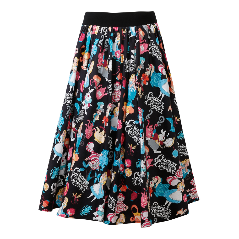 Candow Look 2018 Vintage Inspired Clothes Women Elastic High Waist Skirt Saias Faldas Alice Print One