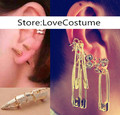 New Suicide Squad Batman Harley Quinn Cosplay golden bone ring with earrings ear stud ear clip