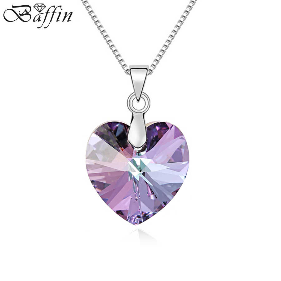 BAFFIN Original Crystals From Swarovski Heart Pendant Necklace For Women Silver Color Maxi Collares Lovers Valentine's Day Gift
