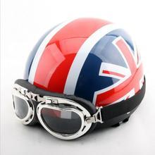 Мода Британский Юнион Джек Британский мотоциклетный шлем электрический велосипед шлемы Летом половина лица моделей Harley шлем ABS