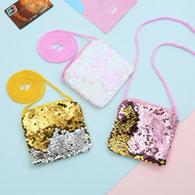 Sequin Crossbody Bags Mini Coin Purses Card Holder Pouch Kids Small Wallet Girl Boys Zipper Purse key earphone Organizer Pouch(China)