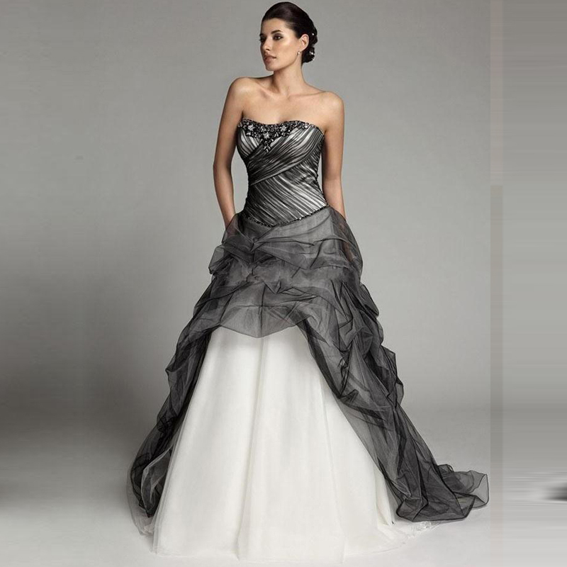 Plus Size Gothic Wedding Dresses 2016 2017: Wedding Dress 2017 Black Tulle Gothic Ball Gown Beaded