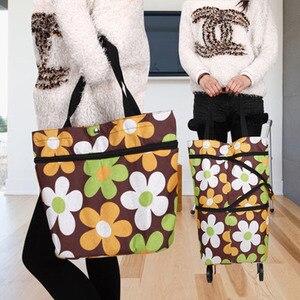 Image 5 - 2019 New Folding Shopping Bag Shopping Cart Small Pull Cart Women Buy Vegetables Bag Wheels Bags Shopping Organizer Package bag