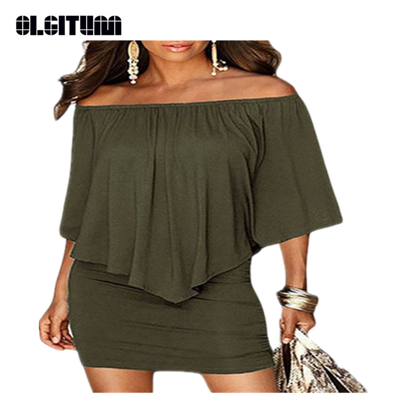 New 2018 Women Sexy Club Dress Summer Slash Neck Half