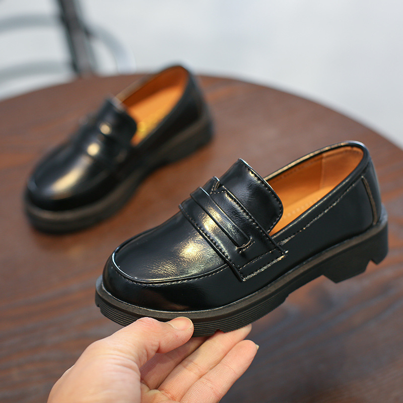 AFDSWG leather shoes for boys black artificial PU waterproof brown party girls casual dance children