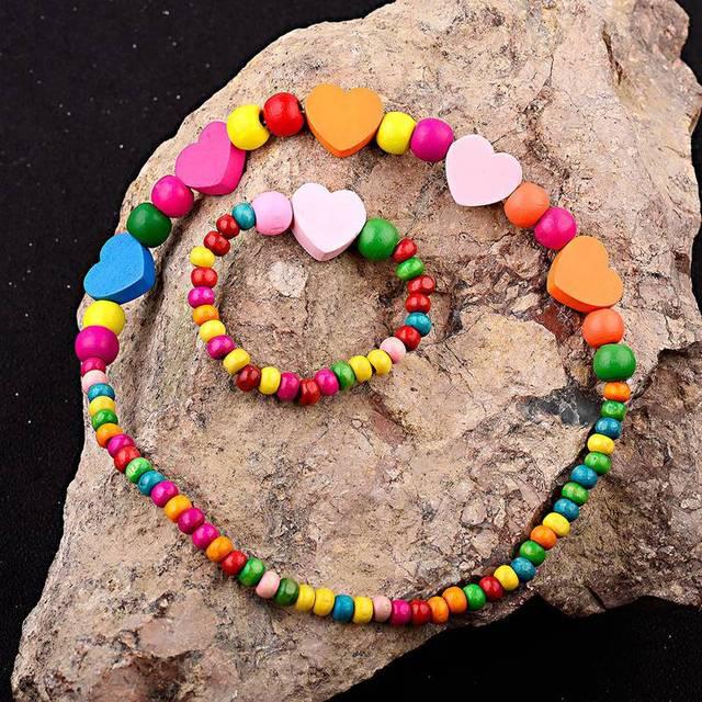 1 bộ Đáng Yêu của Cô Gái Bằng Gỗ Dây Chuyền Đáng Yêu Đầy Màu Sắc Hình Trái Tim Hạt Vòng Cổ & Bracelet Trang Sức Set Món Quà Sinh Nhật CS26