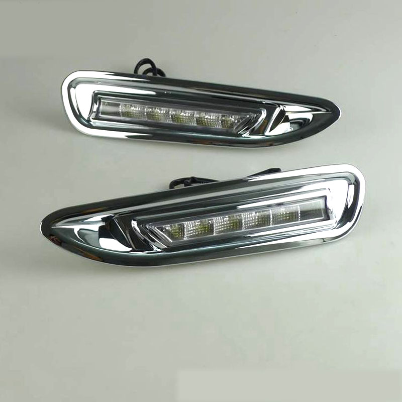 Dongzhen <font><b>LED</b></font> Car DRL <font><b>LED</b></font> Daytime Running Light Fog Lamp For <font><b>Mazda</b></font> <font><b>6</b></font> 2008-<font><b>2010</b></font> With Chrome Cover Relay Waterproof ABS 12V image