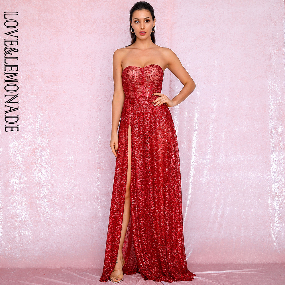 LOVE&LEMONADE Sexy Red Strapless Tube Top Glitter Material Split Poncho Maxi Dress LM81971 Autumn/Winter image