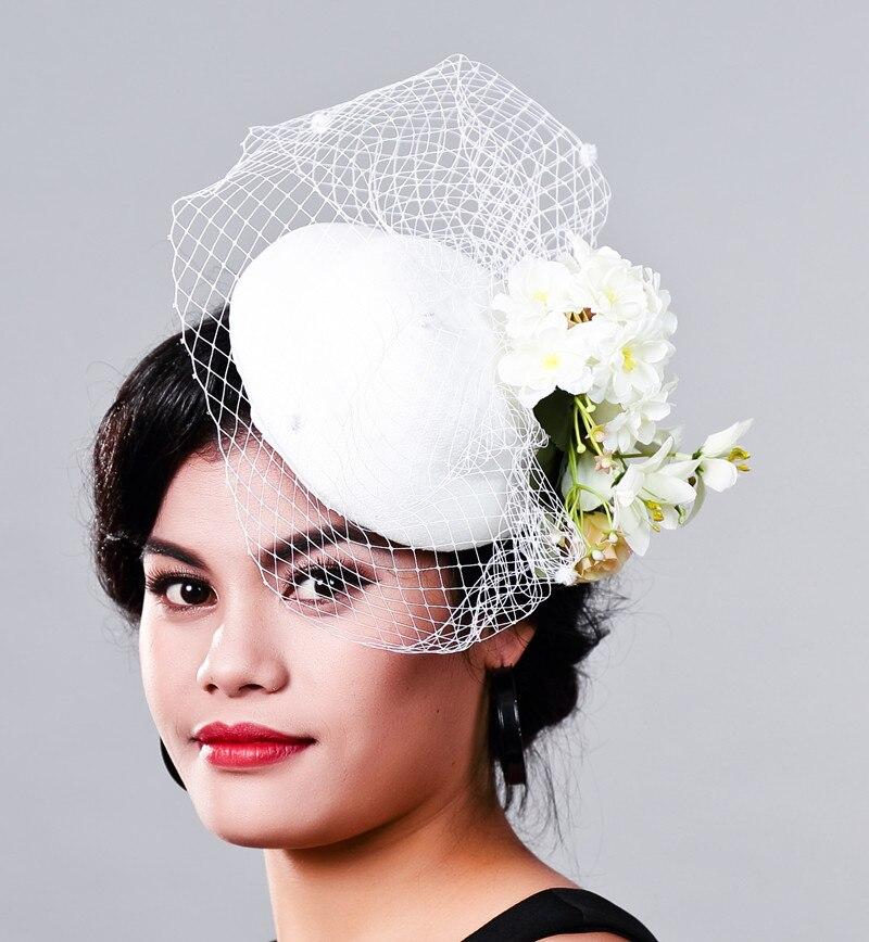 Women Fancy Feather WHITE Beauty Fascinator Headwear Wedding Hat Millinery Cover Face Net Veil Hair Accessories for Bridal Woman