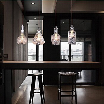 4 Lights,E27,Bottle Design American Country Style LED Pendant Light Hanging Lamp For Bar Artistic Glass Blowing,Bulb Included image