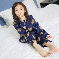 2017 jesień piżamy dziewczyna zwierząt drukuj piżamy dla dzieci na zimę małych dziewczynek odzież dla dzieci piżamy zestawy dla dziewczyn