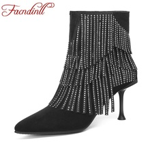 FACNDINLL 2019 new spring autumn fashion women ankle boots shoes genuine leather thin high heels pointed toe shoes woman black недорого