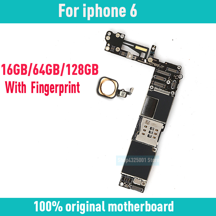 Black/ White/ Gold Original for iphone 6 Motherboard with Touch ID,with Clean iCloud for iphone 6 Mainboard+Chips,Free Shipping