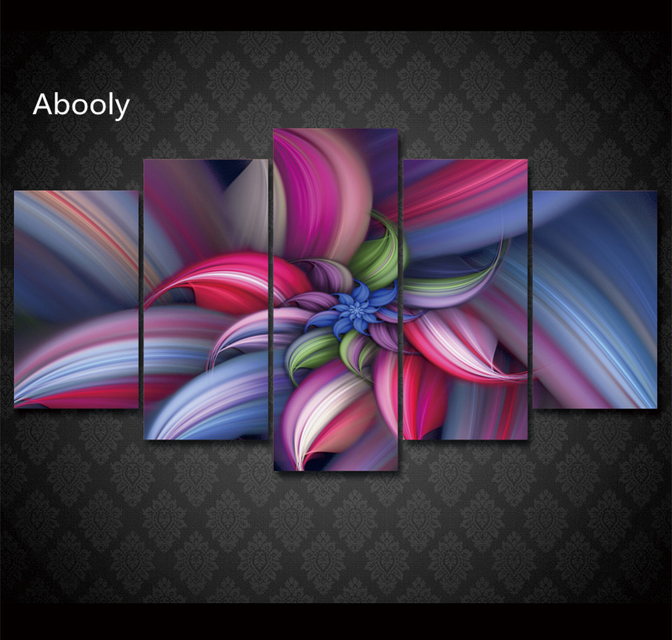 5piece Canvas Artpainting Frame Printed Colorful Abstract Beautiful