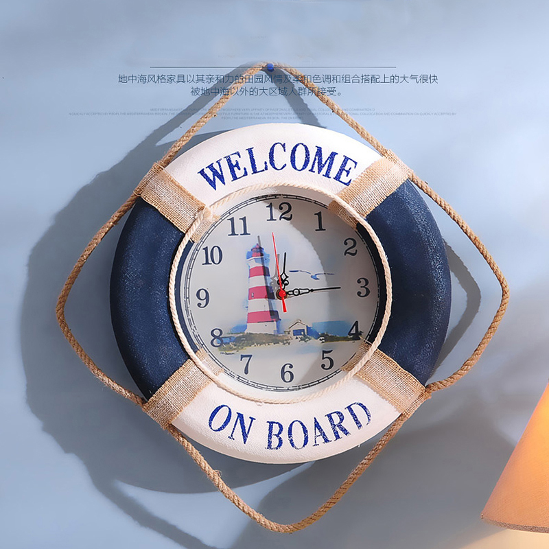 Life Ring Clock Beach Sea Theme Nautical Ship Life Buoy Decor Wall Hanging Decoration Factory Mediterranea Handmade Ocean