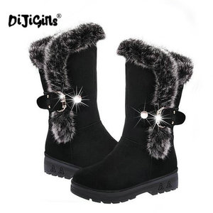 Image 4 - fashion New Ladies non slip Winter Women casual Warm Fur Mid Calf Boots women flat Round Toe Slip On Snow Boots women mujer