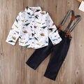 Niños Bebé ropa set 2 UNIDS Niños Niños Bebés de Manga Larga Tapas de la Camisa + Tirantes + Pants Outfit Ropa Set 6M-3Y