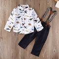 kids Baby set clothes 2PCS Kids Baby Boys Long Sleeve Shirt Tops+Braces+Pants Clothes Outfit Set 6M-3Y
