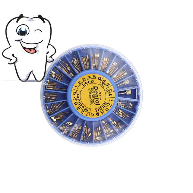 120 Cónico unids/caja Nordin Dental material Dental Chapado En Oro Tornillo Cónico cónico Postes Kits de Recambios de Archivos