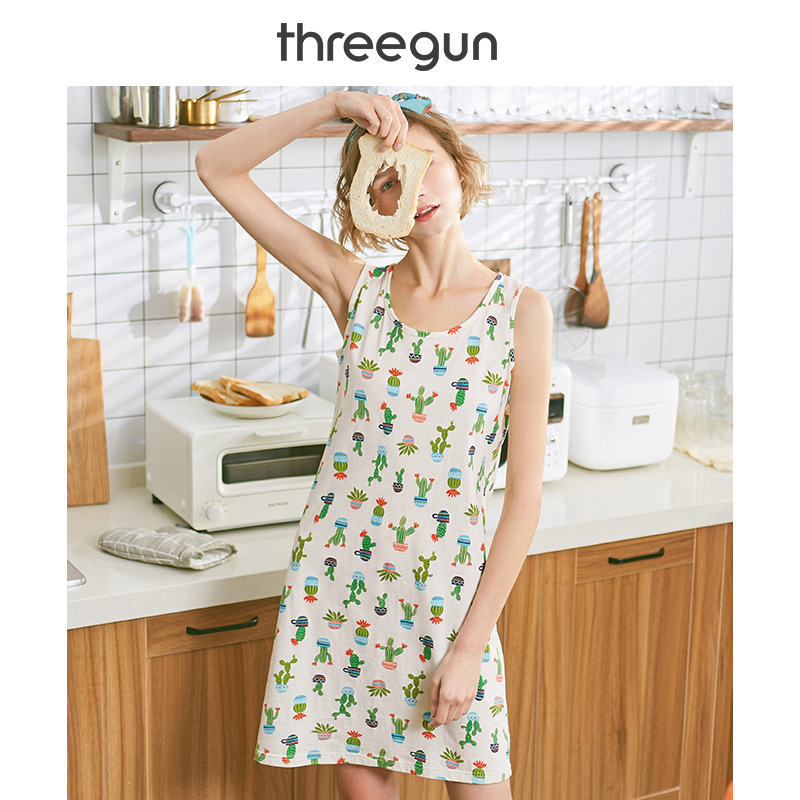 THREEGUN Womens   Nightgown   Sexy   Sleepshirts   Ladies Nightdress Cotton Printed Fashion Straps Girls Cute Floral Casual Camisole