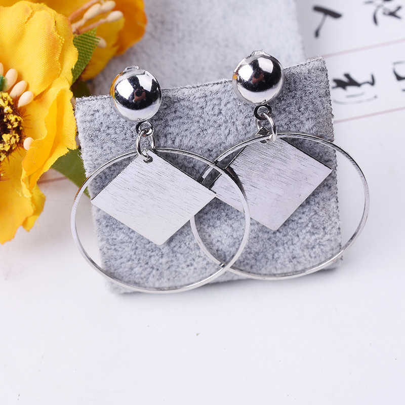 E0380 Fashion Jewelry Rhombus Geometry Drop Earrings For Women Gold Color Circle Statement Earrings Exquisite Gift Wholesale