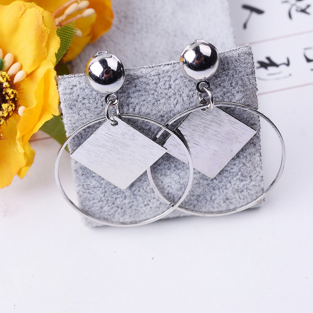 E0380 Fashion Jewelry Rhombus Geometry Drop Earrings For Women Gold Color Circle