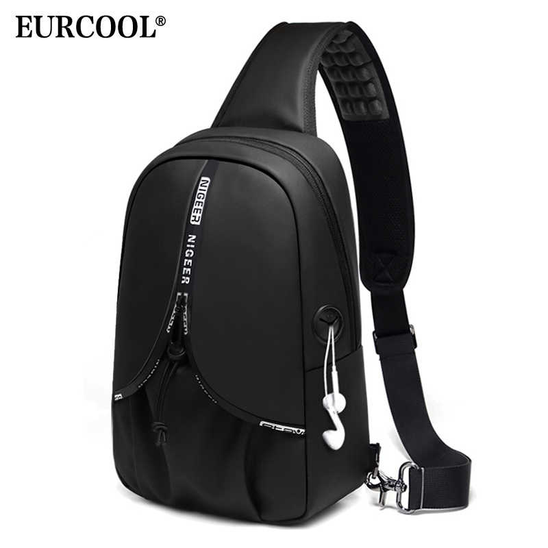 EURCOOL Summer Travel Chest Bag Men Short Trip Messengers Bags Water Repellent Chest Pack 9.7 inch iPad Crossbody Bag Male n1920