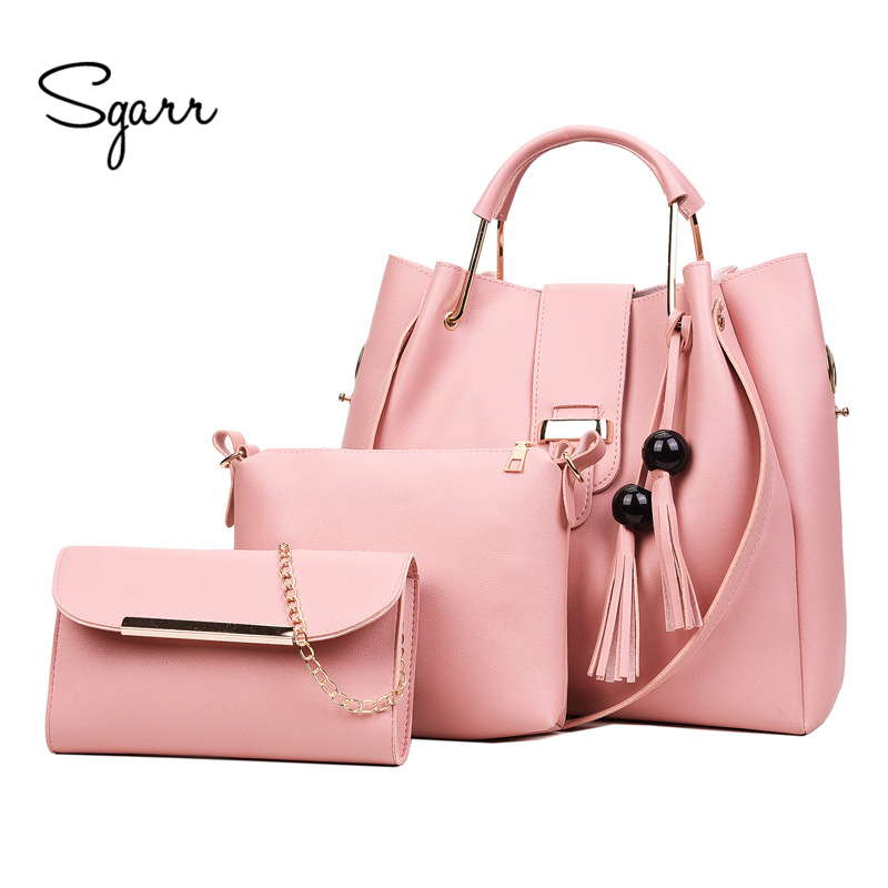 SGARR Women Bags Handbags Women Famous Brands Ladies PU Leather Messenger Bags Fashion 3 Pieces Sets Composite Bag Tassel Tote faux leather minimalist practical 3 pieces tote bag set page 3